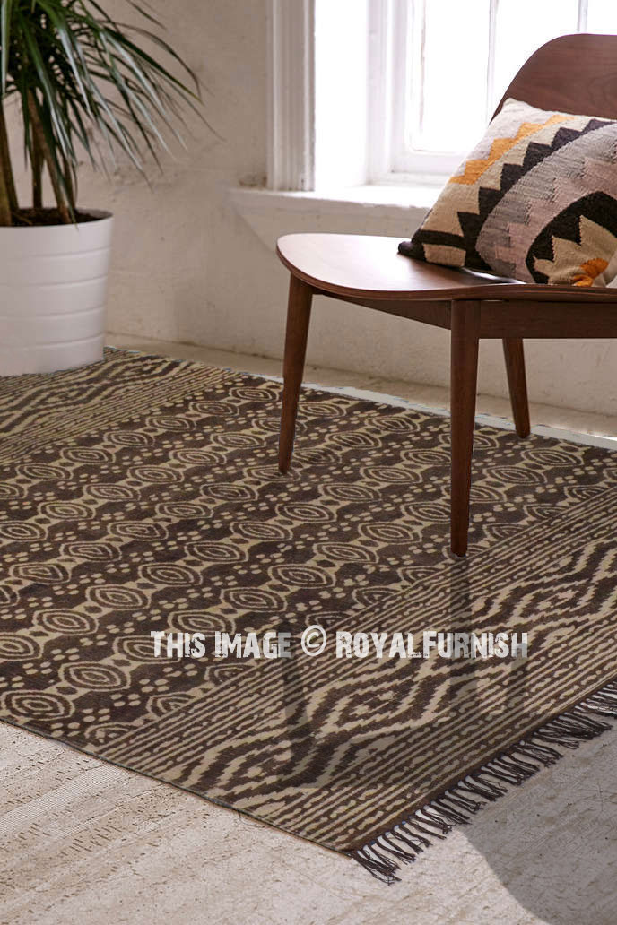 Brown Contemporary Abstract Circle Cotton Area Rug 3x5 Ft