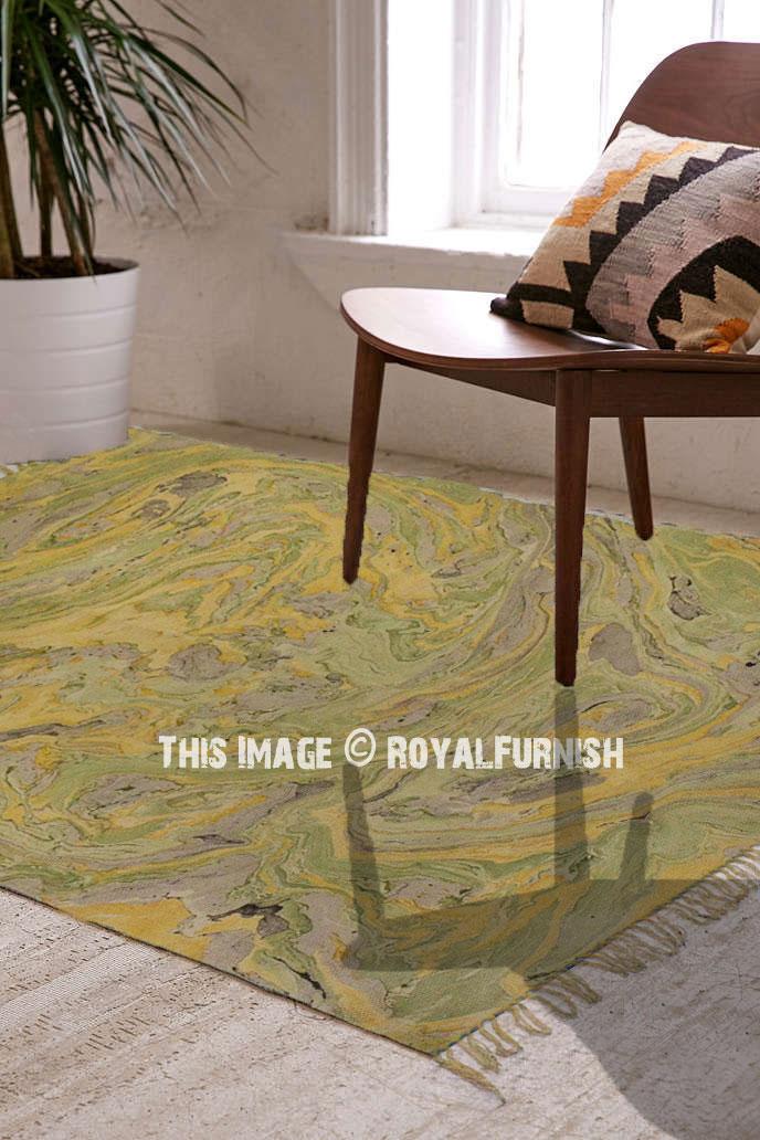 Yellow Green Marble Print Cotton Area Rug For Bedroom Living Room Royalfurnish Com