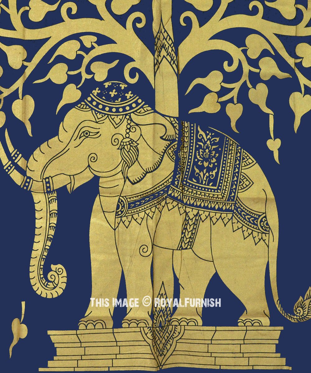 Blue Amp Gold Asian Elephant Under Tree Tapestry Wall
