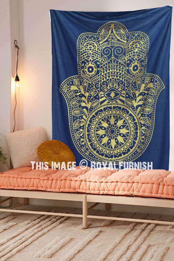 Blue Amp Gold Fatima Hand Hamsa Tapestry Wall Hanging