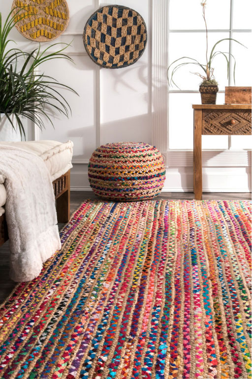 Colorful Natural Fibers Jute Area Rug 4x6 Ft