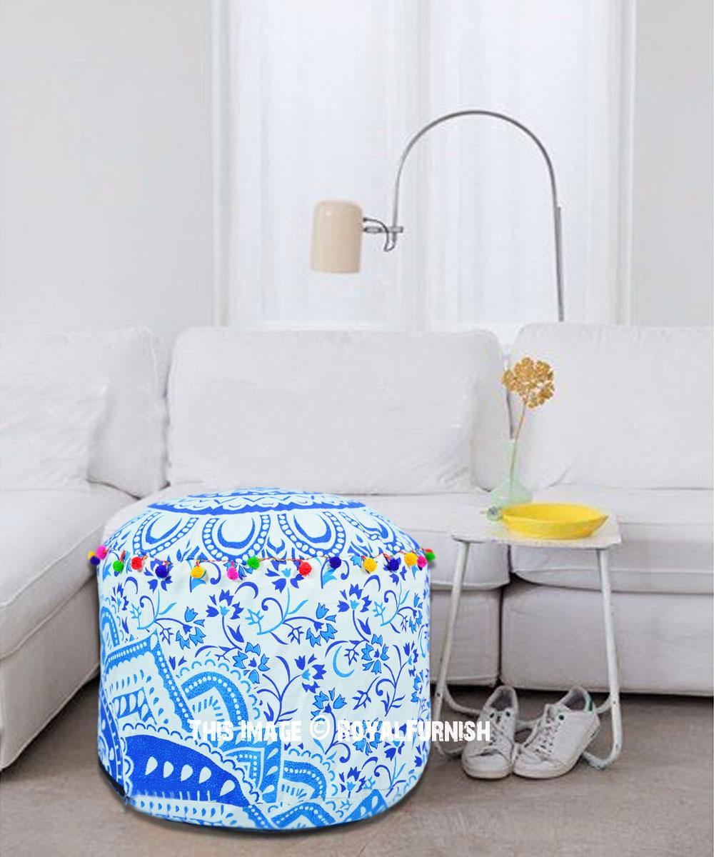 blue bohemian ombre mandala pouf ottoman cover 22x14 inch