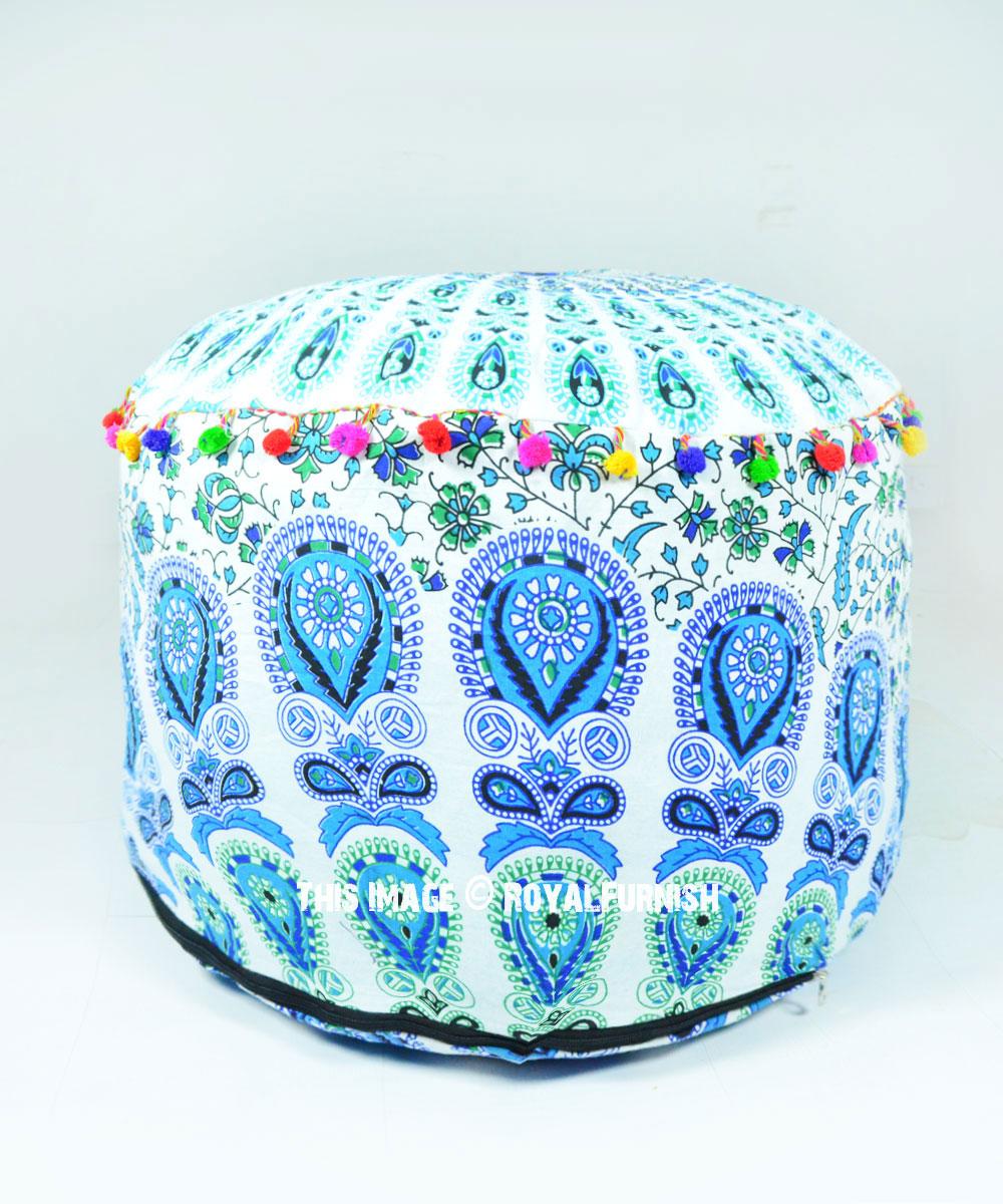 Amazing White Blue Bohemian Floor Seating Round Mandala Pouf Ottoman Cover 22X14 Machost Co Dining Chair Design Ideas Machostcouk