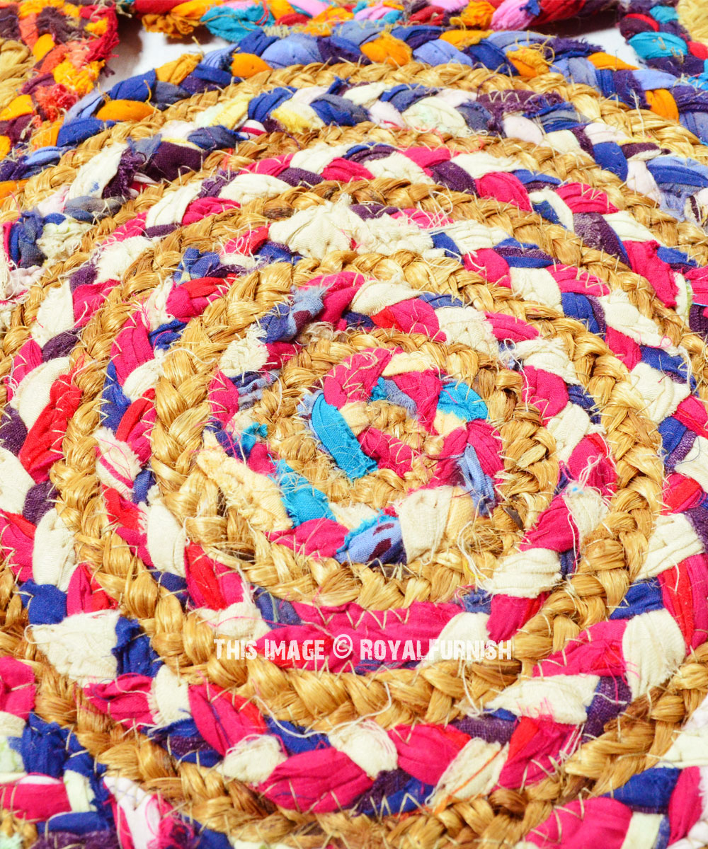 Hand Woven Colorful Round Cotton Jute Braided 3x5 Ft Area Rug Royalfurnish Com