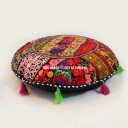 "55"" Cm. Black Boho Recycled Patchwork India Round Floor Pillow"
