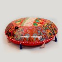 "28"" Large Red Mirror Embroidered Round Floor Cushion Yoga Seating Art"