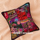 Black Outdoor/Indoor Bohemian Patchwork Throw Pillow Cover 16X16