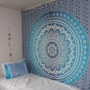 Blue Multi Indian Ombre Mandala Wall Tapestry Hippie Bedding