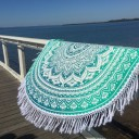 White & Sea Green Ombre Round Beach Towel, Mandala Roundie
