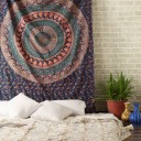 Blue Indian Boho Style Psychedelic Bohemian Tapestry, Mandala Wall Tapestry