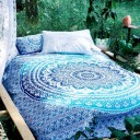 Classic Blue Medallion Ombre Mandala Duvet Cover Set of 2 Pillow Covers