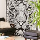 Black and White Hand Sketched Tiger Tapestry