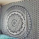 Grey & Black Floral Ombre Medallion Tapestry Bedding Throw