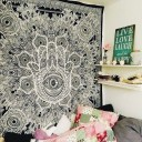 Black & White Queen Multi Sketched Hand Hamsa Wall Tapestry