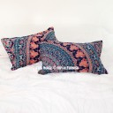 Decorative Blue Elephant & Birds Bohemian Mandala Bed Pillow Case Set of Two