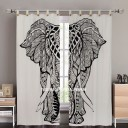 Black & White Big Asian Elephant Tapestry Curtain Panel Pair