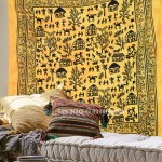 Yellow Animal Indian Tie Dye Hippie Cotton Tapestry Wall Hanging Bedspread