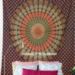 Green Indian Peacock Mandala Tapestry Wall Hanging Bedspread