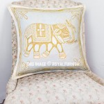 White Unique Embroidered Elephant Pillow Cover 16X16