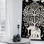 Twin Black & White Tree Elephant Wall Tapestry
