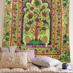 Green Multi Tree of Life Cotton Indian Bohemian Tapestry Coverlet