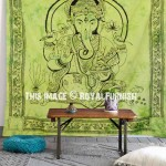 Green Hindu Lord Ganesha Tie-Dye Cotton Tapestry Wall Hanging