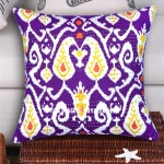 Purple Decorative Paisley Theme Ikat Kantha Pillow Case, Indian Cotton Pillow