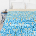 Turquoise Blue Multi Paisley Handcrafted Kantha Ikat Quilt Bedspread Blanket Throw