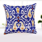 "16"" Indian Blue Kantha Double Stitched Thread Cushion Pillow Cover Ethnic Vintage Decor Art"