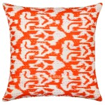 "16"" Orange Ikat Kantha Decorative Throw Pillow Case Sham"
