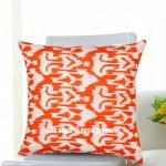 "16"" Orange Ikat Kantha Decorative Throw Pillow Case Sham"