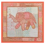Orange Indian Elephant Patchwork Tapestry Wall Hanging