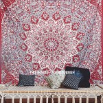 Maroon Indian Star Hippie Mandala Tapestry Wall Hanging Bedspread