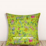 "16"" Green Handmade Vintage Indian Kantha Decorative Throw Pillow Case"
