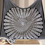 Black & White Floral Mandala Dorm Room Hippie Tapestry Wall Hanging