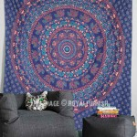 Blue Elephant Medallion Indian Hippie Tapestry Mandala Wall Hanging Bedspread