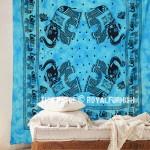 Blue Elephant Mandala Cool Tie Dye Cotton Tapestry Wall Hanging