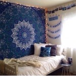 Blue Star Mandala Dorm Decor Hippie Tapestry Wall Hanging Bedspread