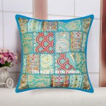 "16"" Turquoise Multi Patchwork Decorative Square Throw Pillow Cover"