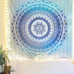 Blue Multi Floral Ombre Circle Mandala Wall Tapestry Bedding