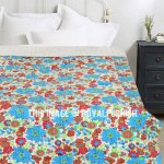 Turquoise Floral Leafs Boho Style Kantha Quilt Throw