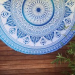ON SALE!! White & Blue Floral Ombre Roundy Beach Mandala Roundie Throw