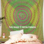 Burgundy and Green Mixed Ombre Mandala Net Circle Wall Tapestry