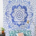 Blue Geometric Flower Circle Mandala Tapestry, Indian Bedspread