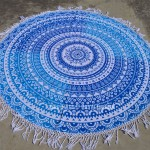 Blue & White Ombre Theme Fringed Mandala Beach Throw Roundie Towel