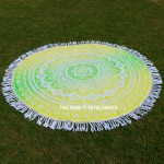 Yellow Green Ombre Mandala Roundie Beach Throw Picnic Rug Round Tablecloth