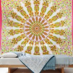 Large Red Multi Mandala Tapestry, Hippie Wall Hanging