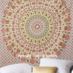 White Multi Colorful Ghoomar Medallion Mandala Tapestry
