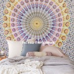 Large Plum and Bow Theme Medallion Mandala Tapestry, Hippie Bedding Throw