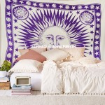 Purple Good Morning Sun Moon Fringed Tapestry Wall Hanging